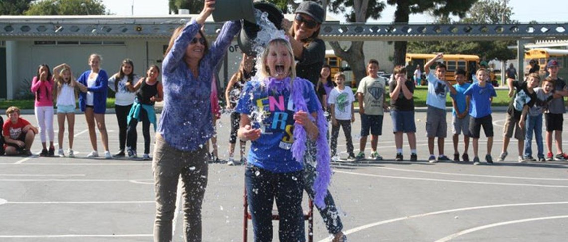 Principal Michelle Askew is in for a surprise when she participates in the Ice Bucket Challenge!