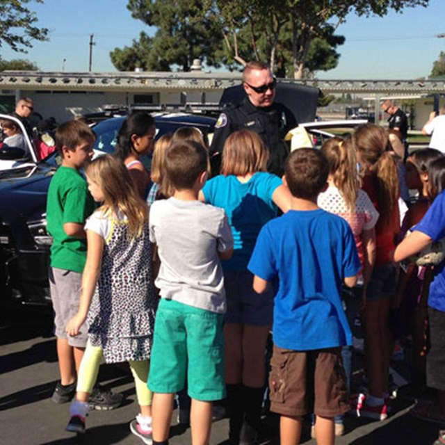 Students take advice from this brave officer when discussing safety!